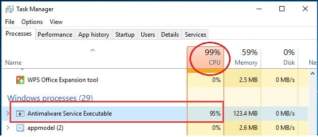 How to disable Antimalware Service Executable process in Windows 10
