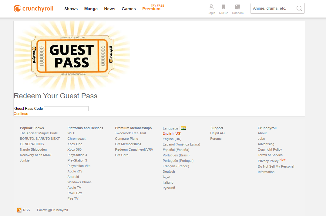 Learning About Crunchyroll Guest Pass – How To Redeem Guest Pass Crunchyroll